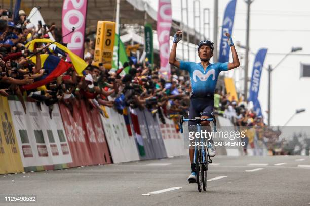 Colombian cyclist Nairo Quintana of Movistar Team celebrates after winning the final stage of the Tour Colombia 21 in Medellin Antioquia department...