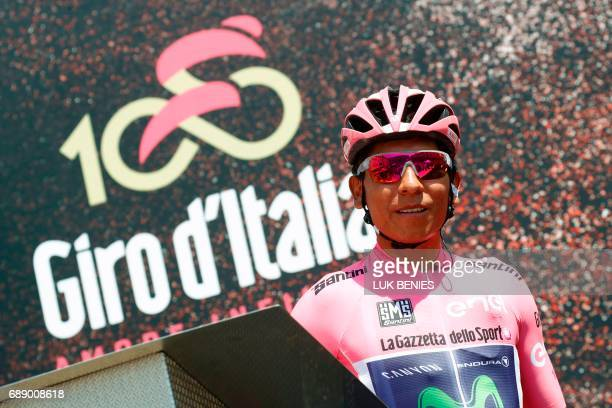 Colombian cyclist Nairo Quintana of Movistar Team poses before the start of the 20th stage of the 100th Giro d'Italia Tour of Italy from Pordenone to...