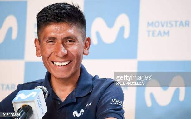 Colombian cyclist Nairo Quintana smiles during a press conference to present the Movistar team for the upcoming Colombia Oro y Paz cycling race on...