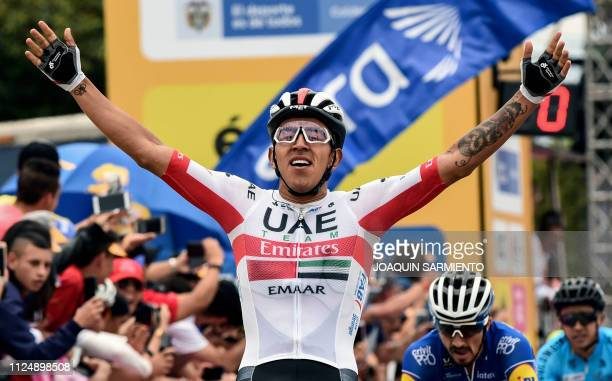 Colombian cyclist Sebastian Molano of UAE Team Emirates, crosses the finish line to win the third stage of the Tour Colombia 2.1, in Rionegro,...