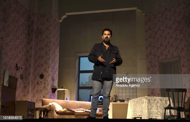 Colombian Director Juan Sebastian Aragon talks at the stage of the Colon Theater where currently Broadway classic play 'A raisin in the sun' is...