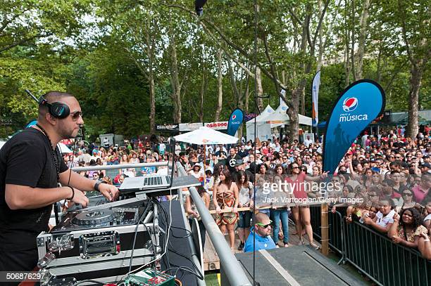 Colombian DJ Alex Sensation spins Reggaeton and other Latin sounds during a concert at Central Park SummerStage New York New York August 13 2011 The...