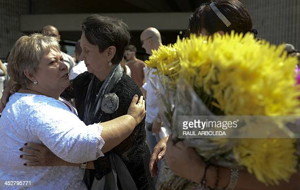 Colombian drug lord Pablo Escobar's sister Luz Maria Escobar attends a ceremony at Montesacro cemetery in Medellin Antioquia department Colombia on...