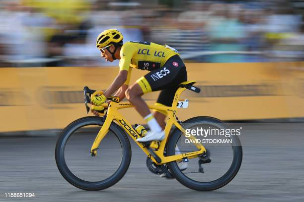 Colombian Egan Bernal of Team Ineos wearing the yellow jersey pictured in action during the final stage of the 106th edition of the Tour de France...