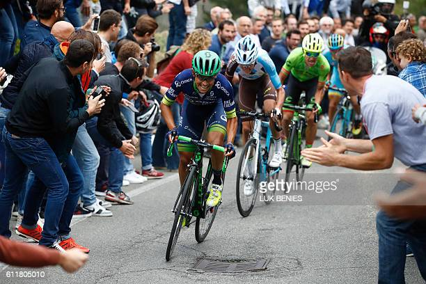 Colombian Esteba Chaves climbs during the 110th edition of the giro di Lombardia a 241 km cycling race from Como to Bergamo on October 1 2016 Esteban...