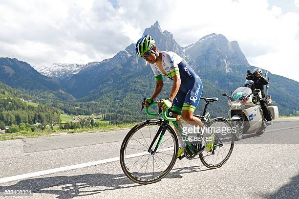 Colombian Esteban Chaves of team Orica competes during the 15th stage of the 99th Giro d'Italia Tour of Italy an uphill individual time trial between...
