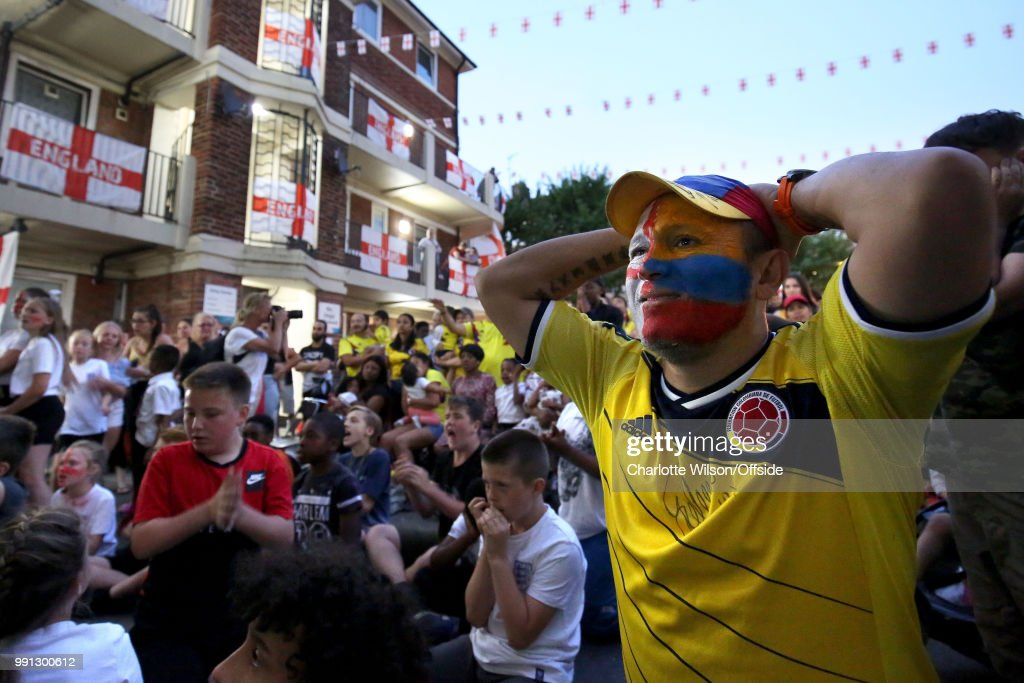Football Fans Watch As England Take On Colombia In The FIFA World Cup : News Photo