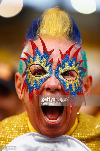 Colombian fan shows his colours ahead of the 2014 FIFA World Cup Brazil round of 16 match between Colombia and Uruguay at Maracana on June 28 2014 in...