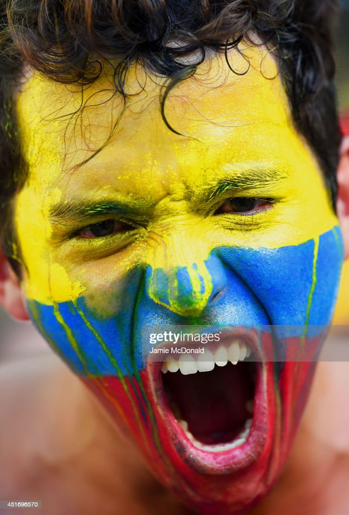A Colombian fan shows his colours ahead of the 2014 FIFA World Cup Brazil Quarter Final match between Brazil and Colombia at Castelao on July 4, 2014 in Fortaleza, Brazil.