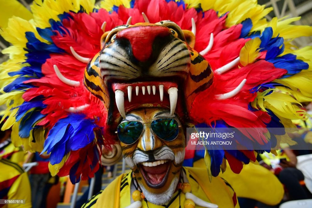 Colombian fan sporting a tiger head poses before the Russia 2018 World Cup Group H football match between Colombia and Japan at the Mordovia Arena in Saransk on June 19, 2018. (Photo by Mladen ANTONOV / AFP) / RESTRICTED