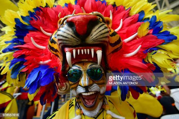 Colombian fan sporting a tiger head poses before the Russia 2018 World Cup Group H football match between Colombia and Japan at the Mordovia Arena in...