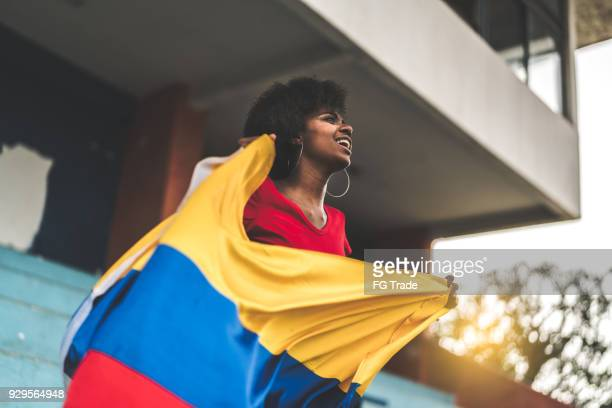 Colombian fan watching a soccer game