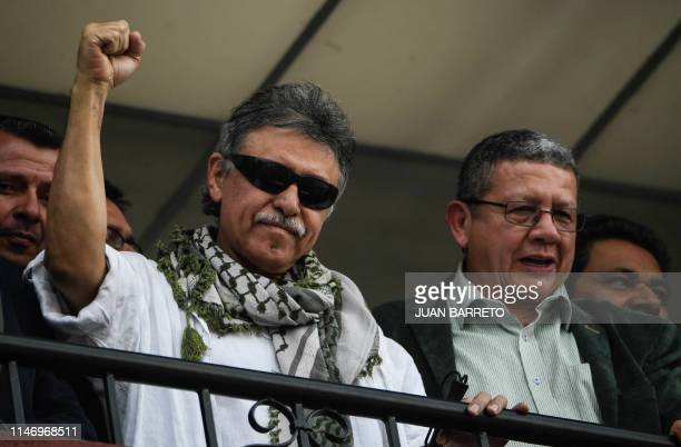 Colombian FARC Political Party member Jesus Santrich greets supporters after been released at the Party's headquarters in Bogota May 30 2019...