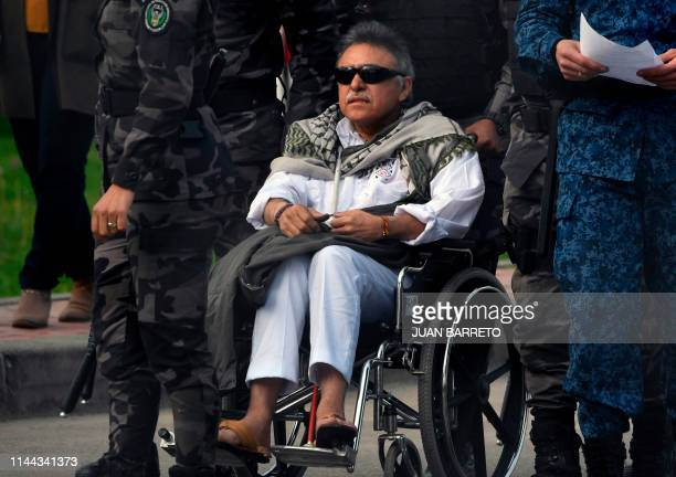 Colombian FARC political party member Jesus Santrich is escorted before being released from Colombian prison 'La Picota' in Bogota on May 17 2019 A...