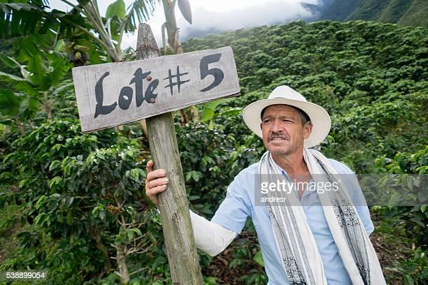 Colombian farmer working at a coffee farm