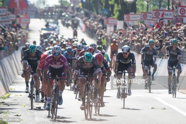 Colombian Fernando Gaviria of QuickStep Floors sprint to the finish of the 13th stage of the 100th Giro d'Italia Tour of Italy cycling race from...