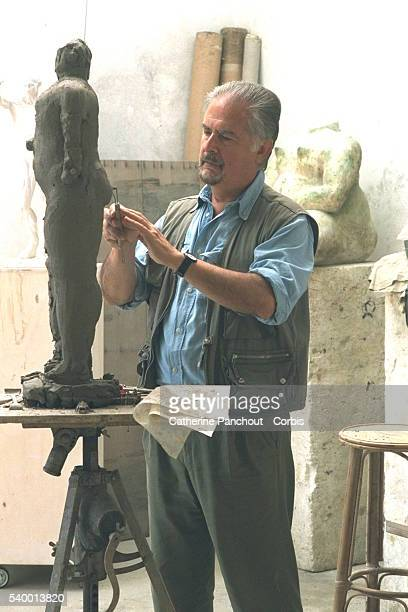 Colombian figurative painter and sculptor Fernando Botero at his workshop of Pietrasanta in Italy