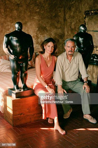 Colombian figurative painter and sculptor Fernando Botero with wife Greek artist Sophia VariBotero at their home of Pietrasanta in Italy