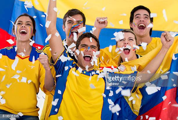 Colombian football fans celebrating