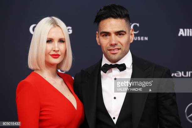 Colombian football player and AS Monaco's striker Radamel Falcao and his wife Lorelei Taron pose on the red carpet before the 2018 Laureus World...