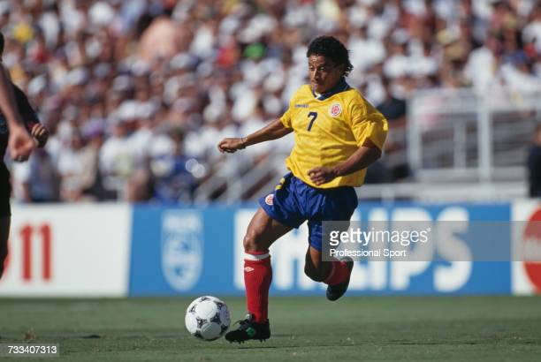 Colombian footballer Antony de Avila pictured in action playing for Colombia in the 1994 FIFA World Cup group A match between United States and...