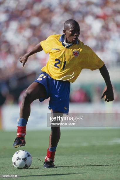 Colombian footballer Faustino Asprilla pictured in action playing for Colombia in the 1994 FIFA World Cup group A match between United States and...