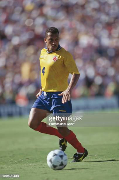 Colombian footballer Luis Fernando Herrera pictured in action playing for Colombia in the 1994 FIFA World Cup group A match between United States and...