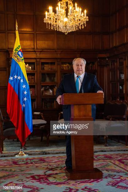 Colombian Foreign Minister Carlos Holmes Trujillo and Humberto Calderon Berti, representative in Colombia of the self-proclaimed interim president of...