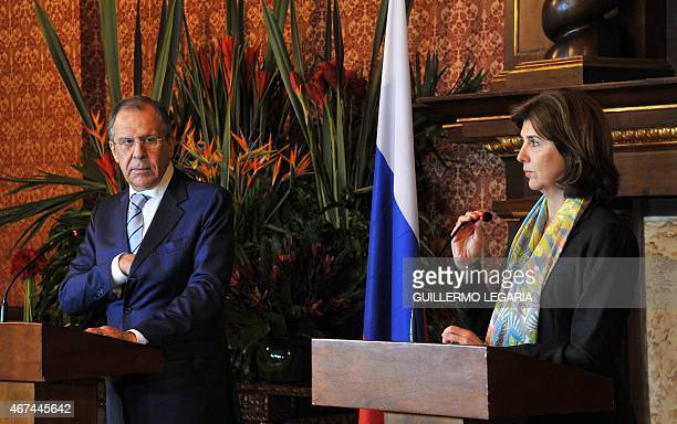 Colombian Foreign Minister Maria Angela Holguin and her Russian counterpart Sergei Lavrov take part in a joint press conference after a meeting at...