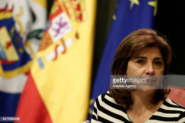 Colombian Foreign Minister Maria Angela Holguin and Spanish Foreign Minister Alfonso Dastis Quecedo hold a joint press conference after their meeting...