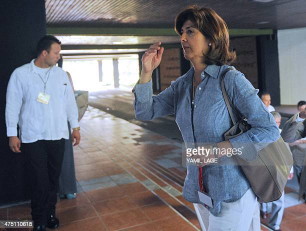 Colombian Foreign Minister Maria Angela Holguin arrives at Convention Palace in Havana for the peace talks with the FARCEP leftist guerrilla on May...