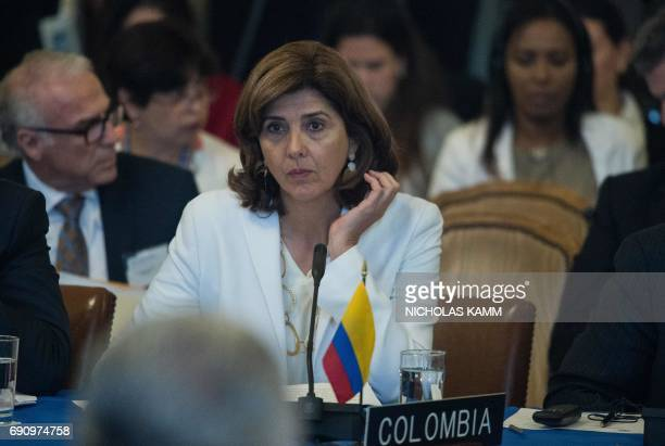 Colombian Foreign Minister Maria Angela Holguin attends an OAS foreign ministers meeting on Venezuela in Washington DC on May 31 2017 / AFP PHOTO /...