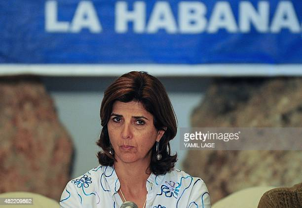 Colombian Foreign Minister Maria Angela Holguin participates in a press conference on land mineclearing as part of the peace process between the...