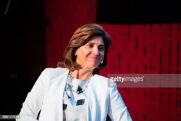 Colombian Foreign Minister Maria Angela Holguin reacts during a conversation on how to bring lasting peace after 52 years of armed conflict in...