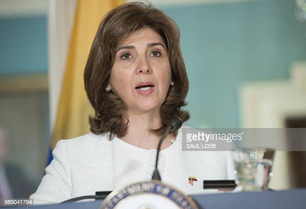 Colombian Foreign Minister Maria Angela Holguin speaks during a press conference with US Secretary of State John Kerry at the State Department in...