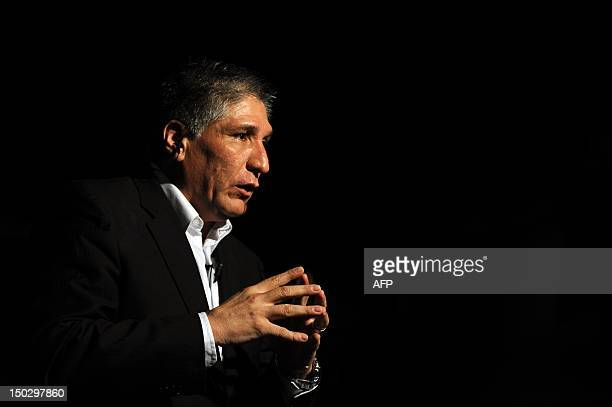 Colombian former deputy Sigifredo Lopez speaks during a press conference in Cali, Valle del Cauca department, on August 14, 2012. The Colombian...