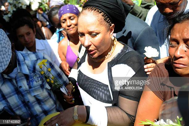 Colombian former senator and humanitarian delegation member Piedad Cordoba attends the funeral of Ana Fabricia Cordoba Cabrera at San Pedro cemetery...