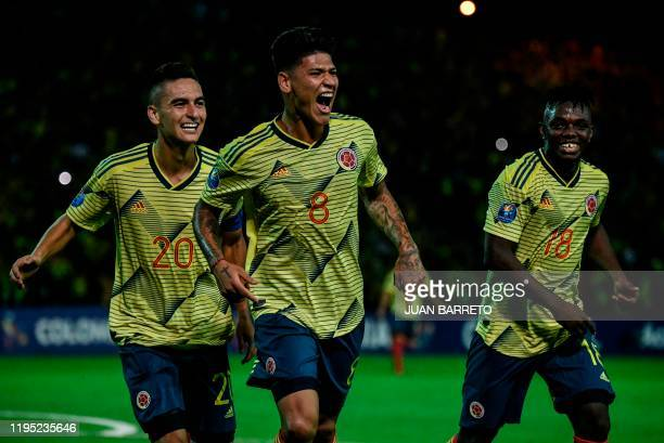Colombian forward Jorge Carrascal celebrates after scoring against Ecuador during their Under23 South American PreOlympic Tournament football match...