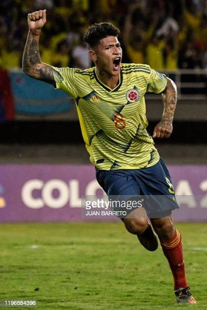 Colombian forward Jorge Carrascal celebrates after scoring against Venezuela during their Under23 South American PreOlympic Tournament football match...