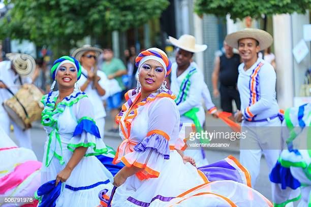 Colombian girls from group for traditional folklore in festival