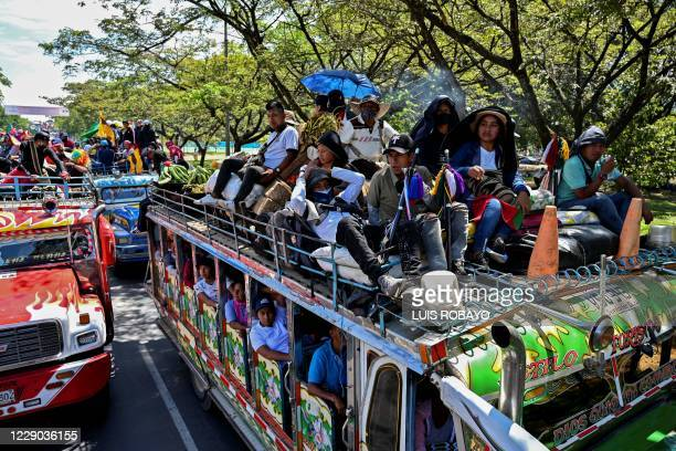 """Colombian indigenous people taking part in a """"Minga"""" arrive in the city of Cali with the expectation of meeting President Ivan Duque, on October 12,..."""