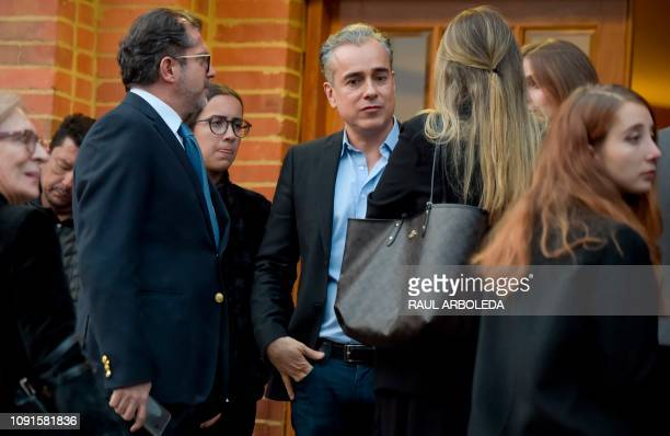 Colombian Jorge Enrique Abello attends the funeral in Bogota on January 30 2019 of Colombian TV series and soap opera screenwriter Fernando Gaitan...