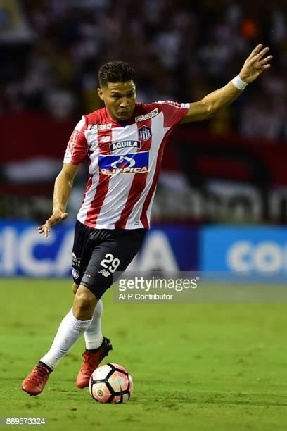Colombian Junior forward Teofilo Gutierrez kicks the ball against Brazilian Sport Recife during their Copa Sudamericana quarterfinals second leg...