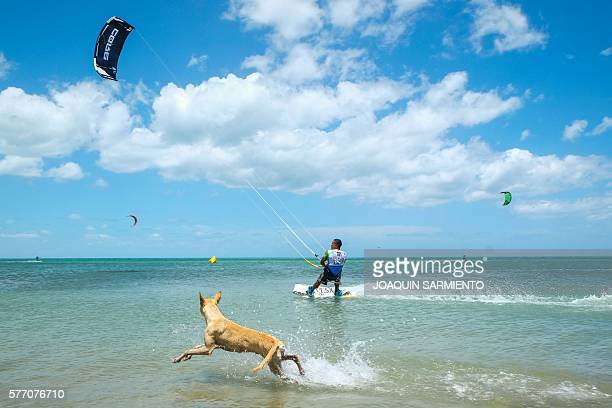Colombian Ken Ruiz competes in the Free Style Kitesurfing competition of the Third Kite Addict Colombia tournament in Cabo de la Vela Guajira...