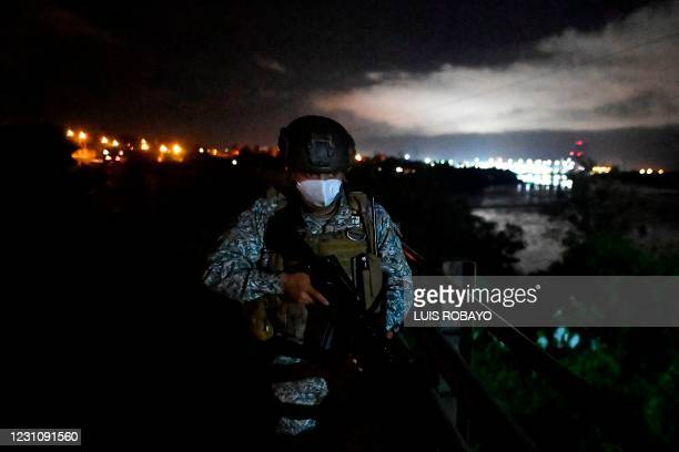 Colombian Marine Infantry soldiers patrol the streets of Buenaventura, Colombia, on February 10, 2021. - Since December Buenaventura has been...