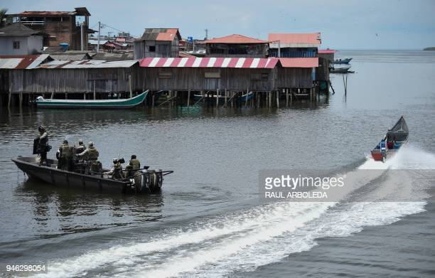 Colombian Marines patrol the waters around Tumaco municipality Narino Department in the Pacific coast of Colombia on April 14 2018 as Ecuador and...