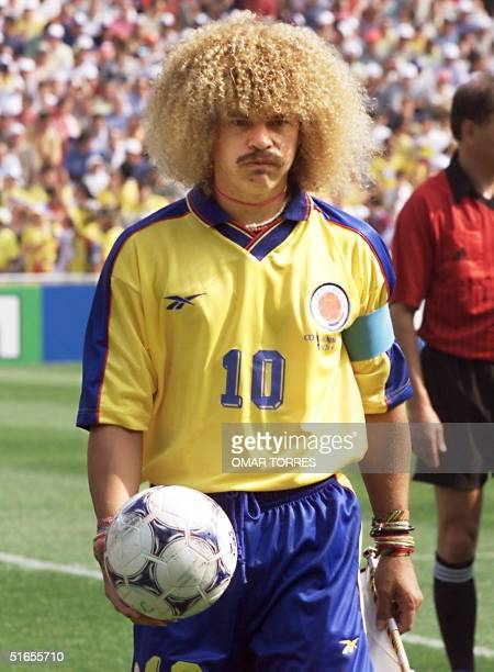 Colombian midfielder Carlos Valderrama walks off the field at the end of the World Cup second firstround Group G match between Colombia and Tunisia...