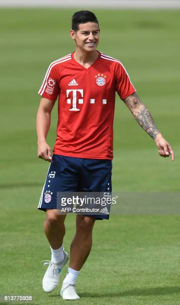 Colombian midfielder James Rodriguez new recruit of German first division Bundesliga football club Bayern Munich attends a training session in Munich...