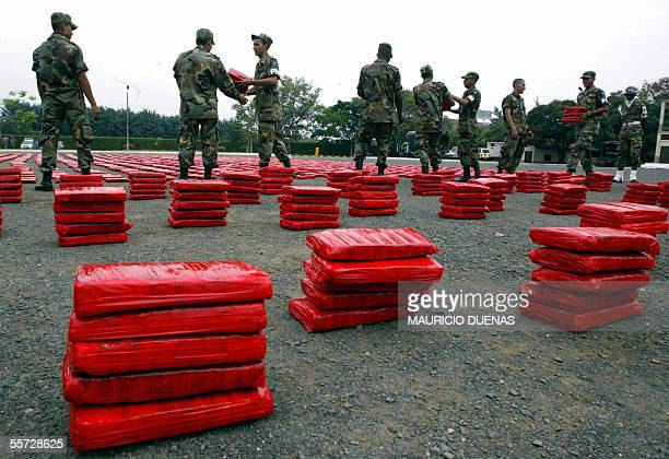 Colombian Military Police display part of 6 tons of marijuana seized to alleged members of the FARC guerrillas in Cali Valle del Cauca 20 September...