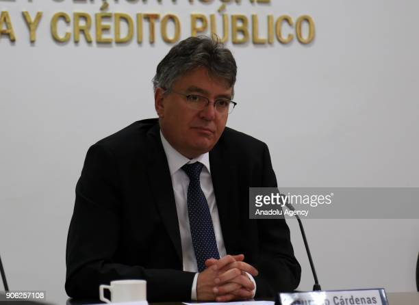 Colombian Minister of Finance Mauricio Cardenas speaks to the press during a press conference at the Ministry of Finance Building in Bogota Colombia...